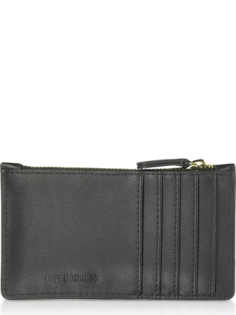 Love Moschino Black Eco Leather Credit Card Holder W/zip
