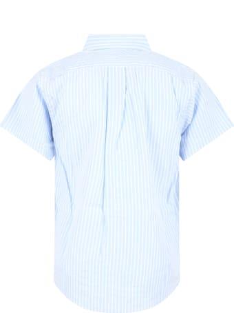 Comme des Garçons Play Light Blue Shirt For Kids With Black Heart