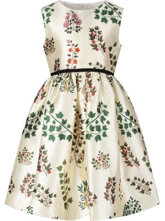 Oscar de la Renta Ivory Girl Dress With Colorful Flowers