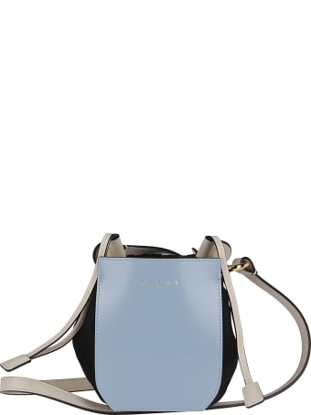 Marni Bicolor Leather Gusset Shoulder Bag