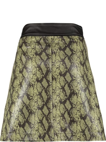 STAND STUDIO Python Print Faux Leather Wrap Skirt
