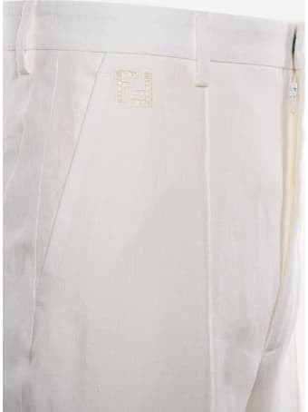 Fendi Trousers Made Of Natural Hemp With Ff Embroidery