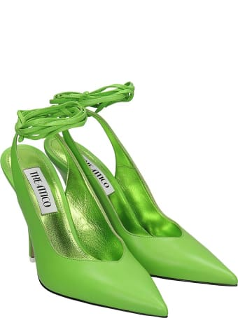 The Attico Sling Back Sandals In Green Leather