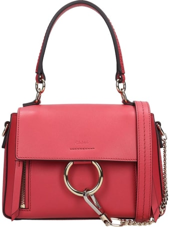 Chloé Faye Day Hand Bag In Rose-pink Suede And Leather