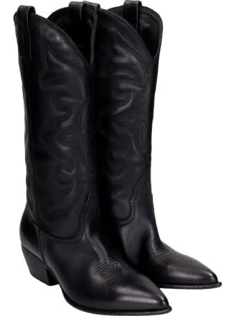 Elena Iachi Texan Boots In Black Leather