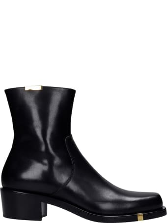Rochas Ankle Boots In Black Leather