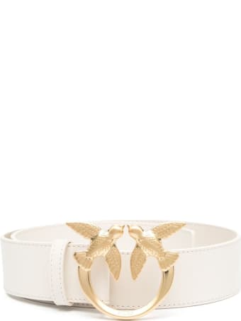 Pinko Love Berry Belt In White Leather With Logo Buckle