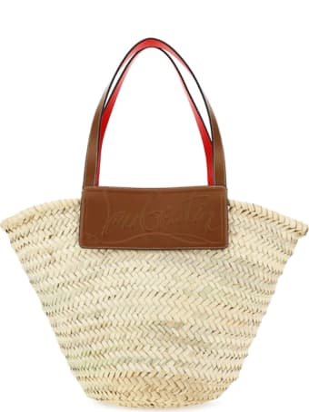 Christian Louboutin Loubishore Woven Straw/calf Paris Beige Raffia Brown Leather Bags