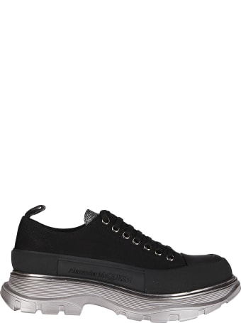 Alexander McQueen Black Leather And Cotton Sneakers