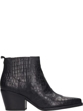 Sam Edelman Winona Texan Ankle Boots In Black Leather