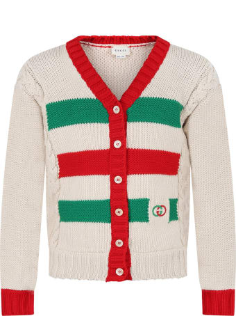 Gucci Ivory Cardigan For Kids With Double Gg