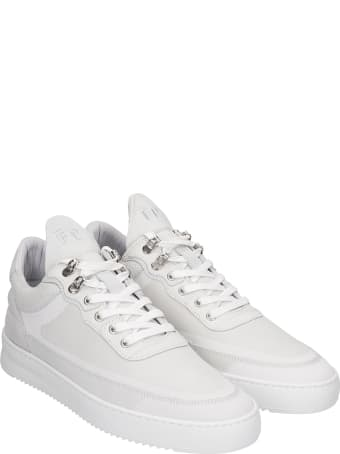 Filling Pieces Low Top Ripple Sneakers In White Leather And Fabric