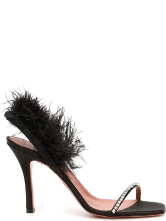 Amina Muaddi Adwoa Crystal And Feather Sandals