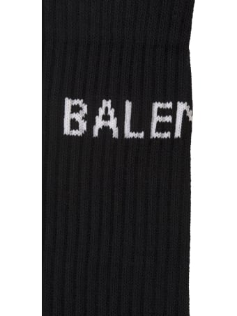 Balenciaga Black Man Socks With White Logo