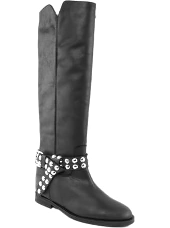Via Roma 15 Black Leather Boot