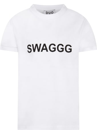 Natasha Zinko White T-shirt For Boy With Black Writing