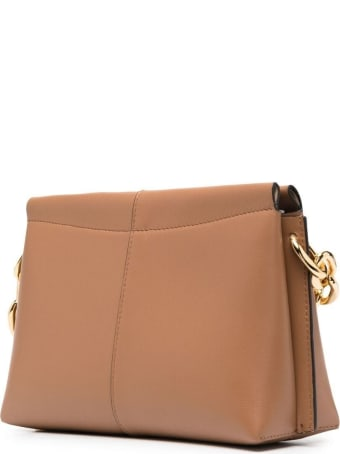 Wandler Carly Handbag In Brown Leather With Logo