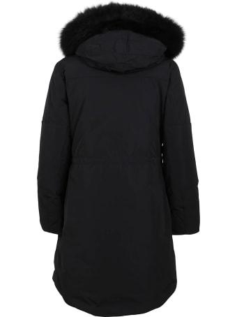 Woolrich Black Technical Fabric Coat