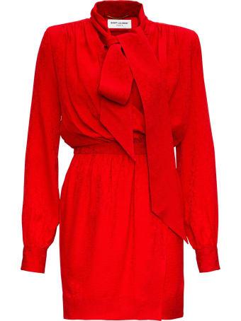 Saint Laurent Silk Mini Long Sleeves Dress