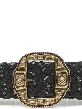 Etro Asta Intreccio Leather Belt