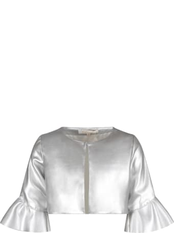 Loredana Silver Jacket For Girl With Ruffle