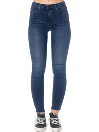 Calvin Klein Dark Blue Cotton-blend Skinny Fit Jeans