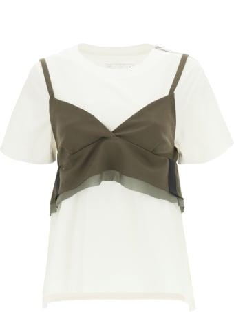 Sacai T-shirt With Wool Blend Top