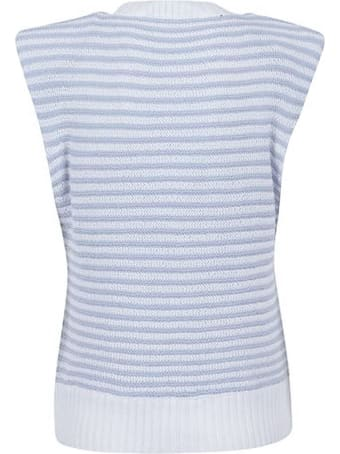 Philosophy di Lorenzo Serafini Light Blue And White Cotton-blend Top
