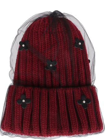 CA4LA Deep Red Wool Blend Hat