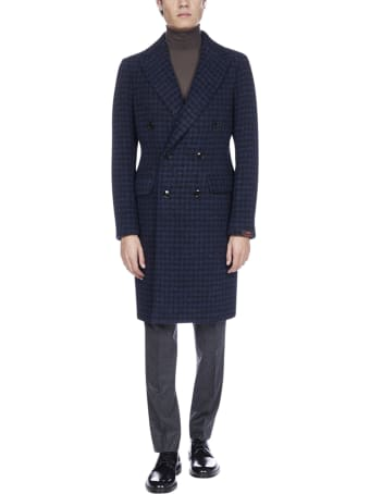 MP Massimo Piombo Roger Double-breasted Gingham Virgin Wool Coat