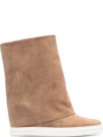 Casadei Reindeer Boots In Beige Suede Leather
