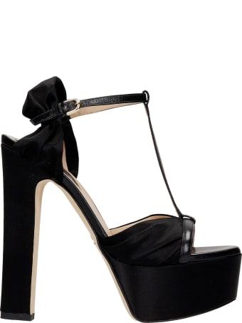 Elie Saab Sandals In Black Satin