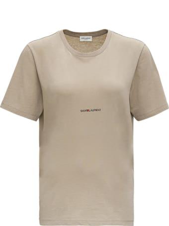 Saint Laurent T-shirt Sl Rive Gauche Front Print