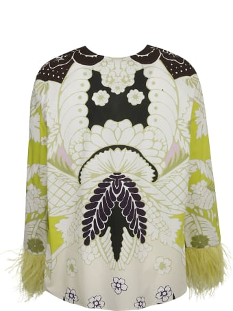 Valentino Feather Cuffed Printed Top
