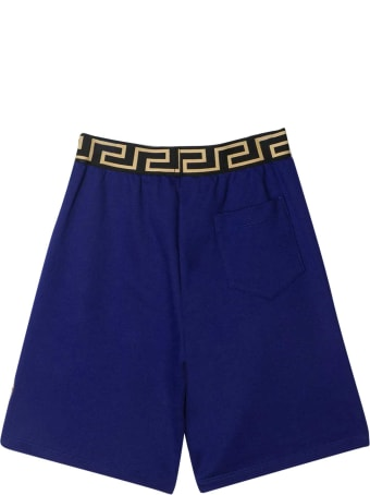 Versace Blue Shorts With Golden Details