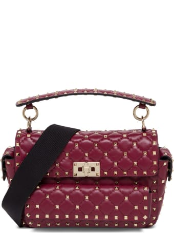 Valentino Garavani Rockstud Spike Medium Bordeaux Crossbody  Bag