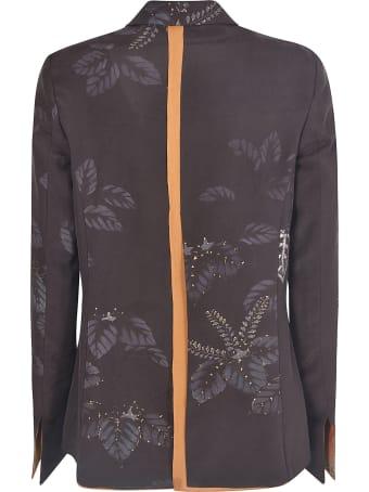 Ibrigu Leaf Print Double-breasted Blazer