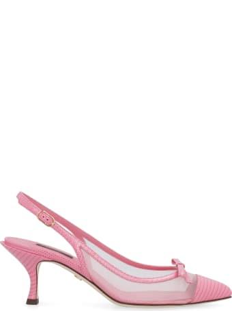 Dolce & Gabbana Mesh And Leather Pointy-toe Slingbacks