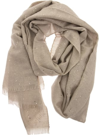 Brunello Cucinelli Cashmere And Silk Diamond Yarn Scarf Beige