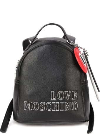 Love Moschino Black Ecoleather Backpack With Pendant