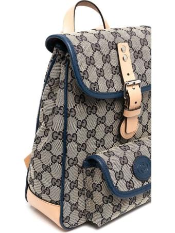 Gucci Blue/beige Cotton-blend Backpack