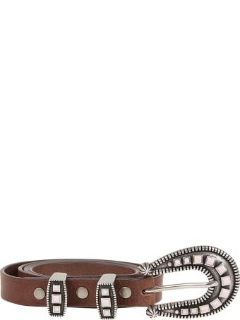 Alanui Gemstone Buckle Leather Belt