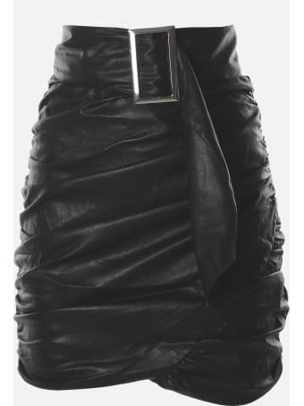 For Love & Lemons Faux Leather Wrap Mini Skirt