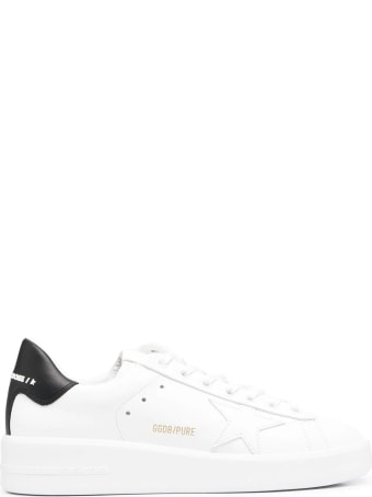 Golden Goose Woman White And Black Purestar Sneakers
