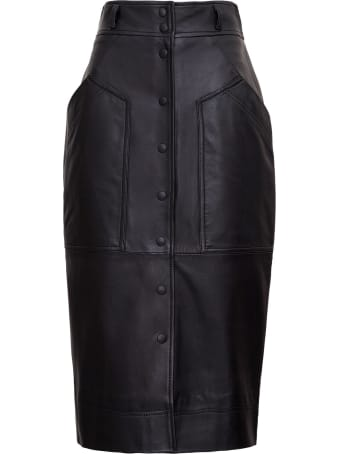 Alberta Ferretti Leather Pencil Skirt