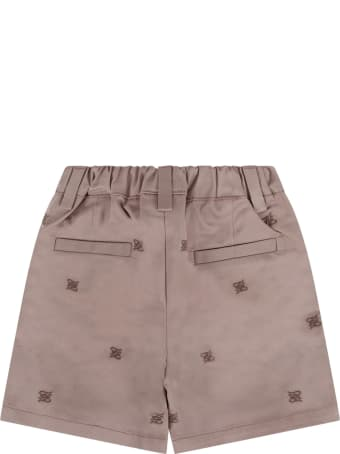 Fendi Beige Short With Double Ff For Babyboy