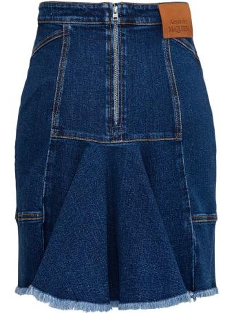 Alexander McQueen Denim Skirt With Back Zip