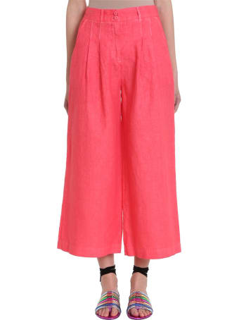 120% Lino Red Linen And Cotton Culotte Pants