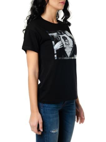 Frankie Morello Black Cotton T Shirt With Bowie Print