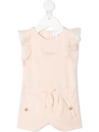 Chloé Embroidered-logo Ruffled Jumpsuit